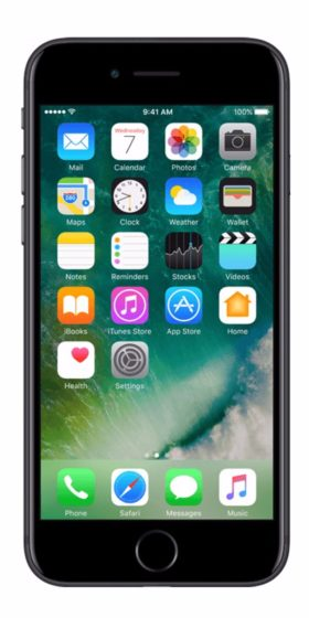 Refurbished iphone 7 256GB jet black voorkant