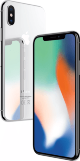 Refurbished iPhone X 64GB Zilver 3D