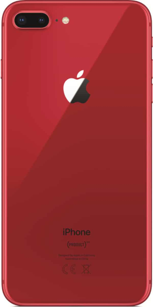 Refurbished iphone 8 plus 256GB rood achterkant