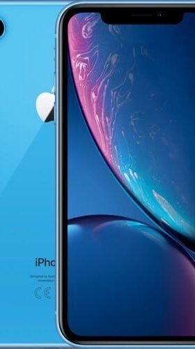 Refurbished iPhone Xr Blauw voorkant en achterkant